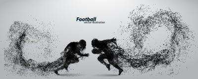 Sylwetka gracz futbolu od cząsteczki rugby amerykański piłkarz Obrazy Royalty Free