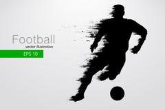 Sylwetka gracz futbolu również zwrócić corel ilustracji wektora Obrazy Royalty Free