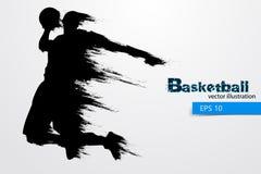 Sylwetka gracz koszykówki również zwrócić corel ilustracji wektora Zdjęcie Royalty Free