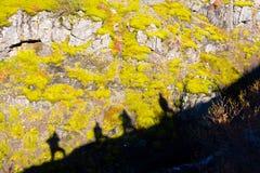 Sylwetka grupa ludzi na Glymur wędrówce na Iceland Zdjęcie Stock