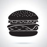 Sylwetka hamburger z serem, pomidorem i sałatką, Obrazy Stock