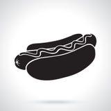 Sylwetka hot dog z musztardą Zdjęcia Stock