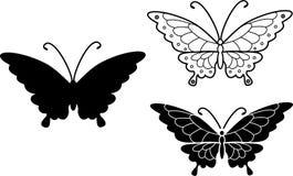 Sylwetka i kolorystyki strona latający motyl Obrazy Stock