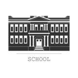 Sylwetka ilustracyjny budynek szkoły w płaskim stylu Obrazy Stock