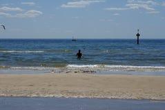 Sylwetka kąpielowicz w oceanie w Frankston Zdjęcie Royalty Free