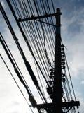 sylwetka kable telefoniczne Fotografia Stock
