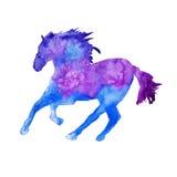 Sylwetka koń odosobniony beak dekoracyjnego latającego ilustracyjnego wizerunek swój papierowa kawałka dymówki akwarela royalty ilustracja