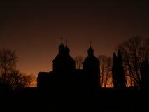 Sylwetka kościół chrześcijański Obraz Royalty Free