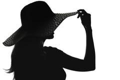 Sylwetka kobieta w kapeluszu Fotografia Royalty Free