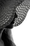 Sylwetka kobieta w kapeluszu Obrazy Royalty Free