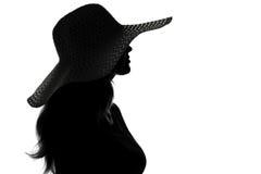 Sylwetka kobieta w kapeluszu Obraz Stock
