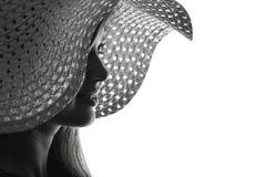 Sylwetka kobieta w kapeluszu Obraz Royalty Free