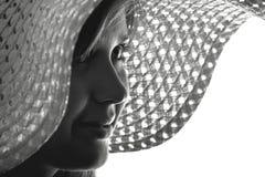 Sylwetka kobieta w kapeluszu Zdjęcia Royalty Free