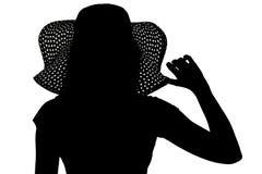 Sylwetka kobieta w kapeluszu Obrazy Stock