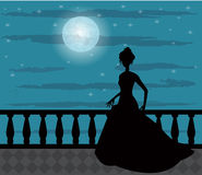 Sylwetka kobieta w nocy Obrazy Stock