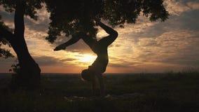 Sylwetka kobiety ćwiczy joga przy pięknym wschodem słońca zbiory