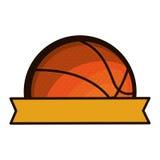 Sylwetka kolor z przyrodnią koszykówki piłką, faborkiem i Zdjęcie Royalty Free