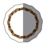 sylwetka koloru majcher z round łańcuchem z kawowymi fasolami Obraz Stock