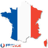 sylwetka kraj France z krajowymi kolorami Obraz Royalty Free