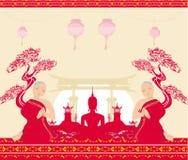 Sylwetka krajobraz i modlenie michaelita Buddha, azjata, royalty ilustracja