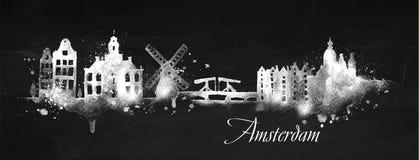 Sylwetka kredowy Amsterdam Zdjęcia Royalty Free