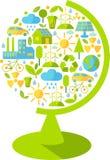 Sylwetka kula ziemska z ekologii ikonami Zdjęcie Royalty Free