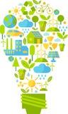 Sylwetka lampa z ekologii ikonami Obrazy Royalty Free