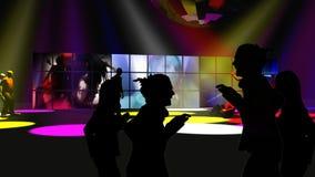 Sylwetka ludzie tanczy z kolorowymi światłami reflektorów ilustracja wektor