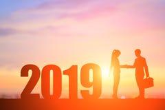 Sylwetka ludzie z 2019 obraz stock