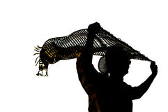 Sylwetka ludzkiego mienia szalika bieżący koszt stały odizolowywający wewnątrz Fotografia Royalty Free