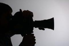 Sylwetka mężczyzna kamery strona Obraz Royalty Free