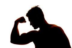 Sylwetka mężczyzna mięśni przewodu jeden mokra ręka Obraz Stock