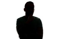 Sylwetka mężczyzna Tajemnicza twarz Na Białym tle Obraz Royalty Free