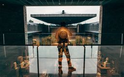 Sylwetka mężczyzna w odbiciu w muzeum narodowym antropologia Meksyk obraz royalty free