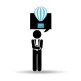 Sylwetka mężczyzna z emaila balonu bąbla gadką Fotografia Royalty Free