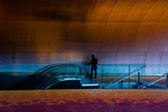 Sylwetka męski wykonawczy czekanie w Nowożytnym budynku Zdjęcia Stock
