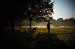 Sylwetka młoda kobieta i jej pies Kobiety odprowadzenie z psem w parku Zdjęcia Stock