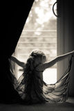 sylwetka małej dziewczynki wearingg motyla skrzydła Zdjęcia Stock
