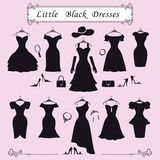 Sylwetka małe czarne partyjne suknie Moda Obrazy Royalty Free