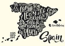 Sylwetka mapa Hiszpania z pisać imionami region Fotografia Stock