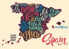 Sylwetka mapa Hiszpania z pisać imionami region Obrazy Stock