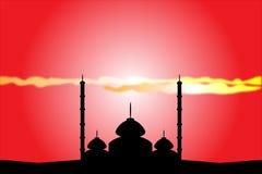 Sylwetka meczety przy zmierzchem ilustracji