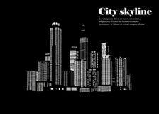 Sylwetka miasto w płaskim stylu krajobrazowy nowożytny miastowy ilustracja Obraz Stock