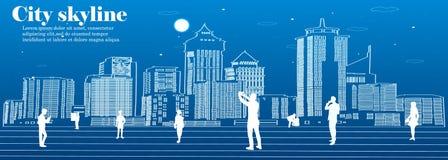 Sylwetka miasto w płaskim stylu krajobrazowy nowożytny miastowy ilustracja Zdjęcie Stock