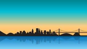 Sylwetka miasto z odbiciem na wschodzie słońca ilustracji