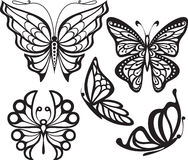 Sylwetka motyl z otwartymi skrzydłami i delikatny Zdjęcie Royalty Free