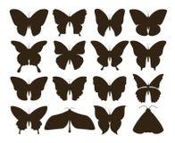 Sylwetka motyle Prosta kolekcja ręka rysujący czarny tatuaż kształtuje, rocznika insekta set Wektorowy motyl ilustracja wektor