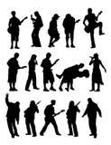 Sylwetka muzyk Zdjęcia Royalty Free