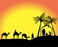 Sylwetka narodzenie jezusa scena Obrazy Royalty Free