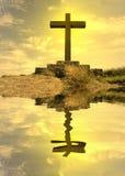 sylwetka odzwierciedlająca krzyża. obraz stock